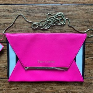 Hot Pink Black and White Crossbody Clutch Bag